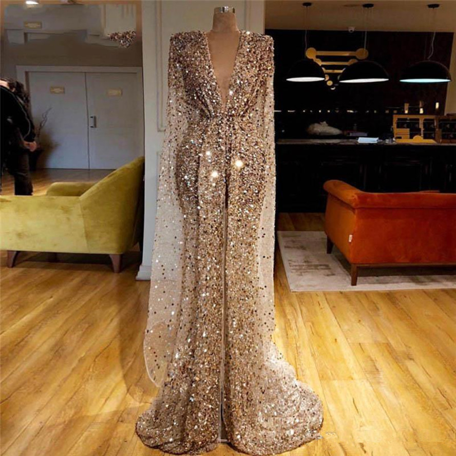 Bling Champagne Gold Sparkly Fabric Kaftan Evening Dress Dubai Islamic Long Prom Dresses Mermaid Celebrity Party Gowns