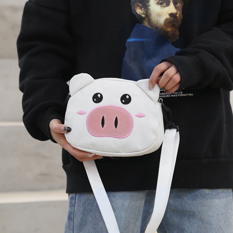Piglet Female Bag Animal Print Female Bag Canvas Shoulder Bag Ladies Messenger Bag Small Bag in Shoulder Bags from Luggage Bags