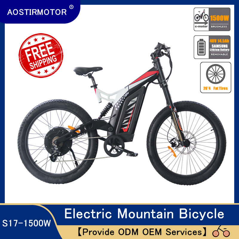 AOSTIRMOTOR Electric Mountain font b Bike b font Fat Tire Electric Bicycle Beach Cruiser City font