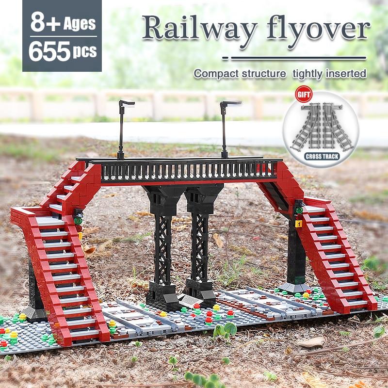 MOULD KING 12008 The Railroad Crossing Model High-Tech Building Blocks