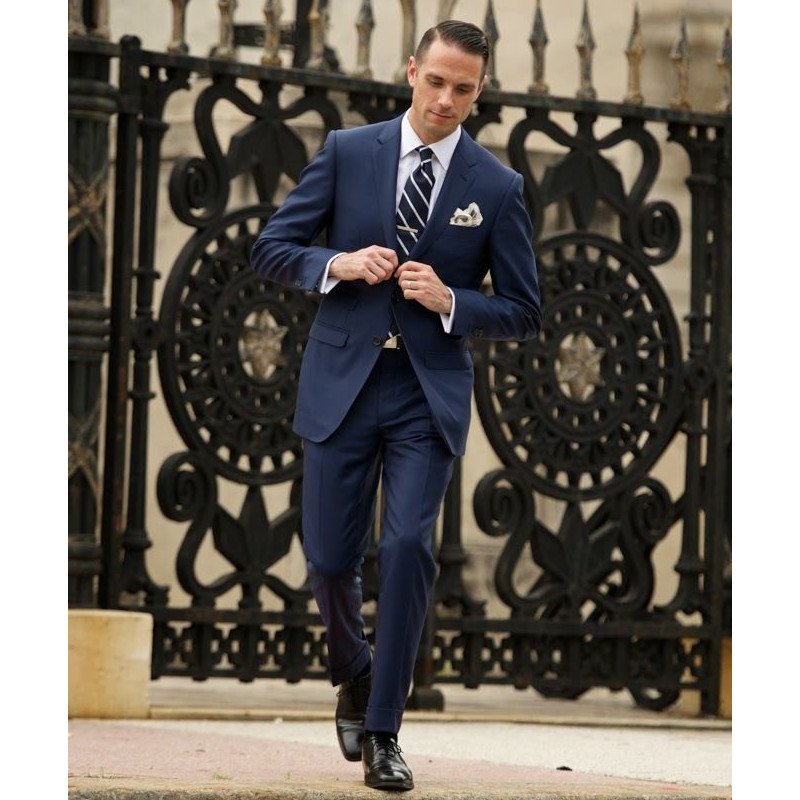 Custom Made Navy Blue 2 Piece Mens Groom Tuxedo Wedding Suits Groomsman Formal Suits Men Suits (Jacket+Pants) W312