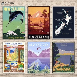 New Zealand NZ Escape to Paradise Wanaka Lake Travel Classic Wall Stickers Canvas Painting Vintage Poster Home Bar Decor Gift(China)