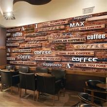 Beibehang-papier peint personnalisé | photo murale 3D nostalgique, outillage de café en trois dimensions, fond grain de bois, mur de salon