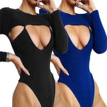 2019 Sexy Women Round Neck Jumpsuit Tops Bodysuits Black Hollow Out Leggings Women Girls Clubwear Bandage Jumpsuit black hollow out stretchable leggings