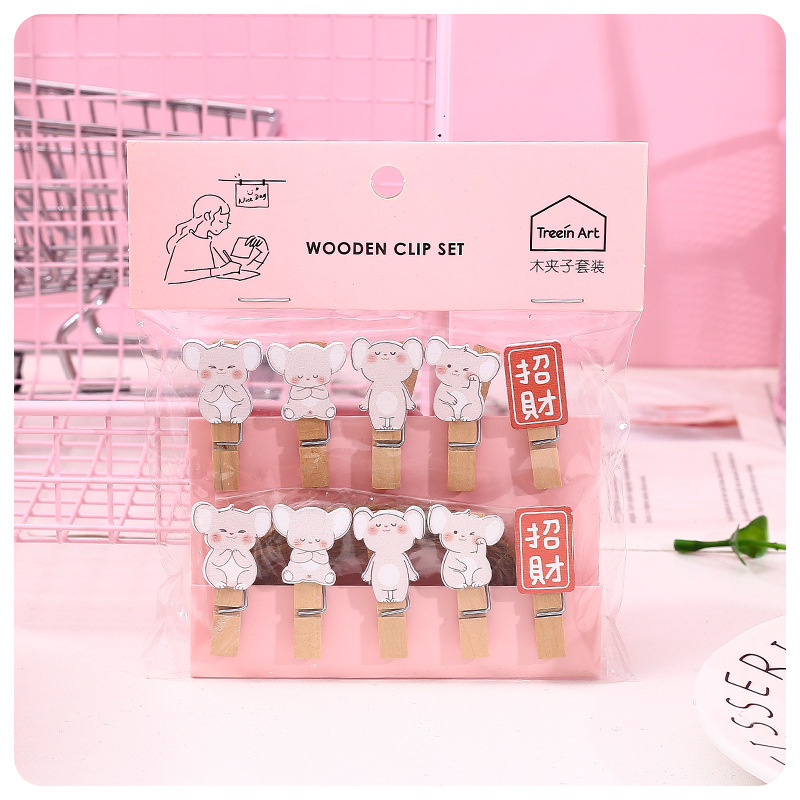 Creative Stationery New Blessing Mouse Wooden Clip Set DIY Decorative Wooden Clip