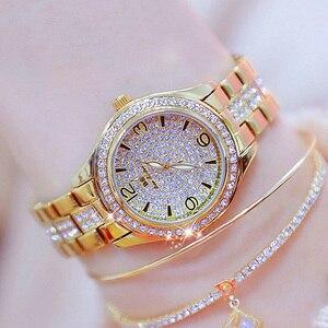 Image 2 - 2020 New Fashion Ladies Wrist Watches Luxury Brand Diamond Women Bracelet Silver Watch Women Dress Quartz Clock Relogio Feminino