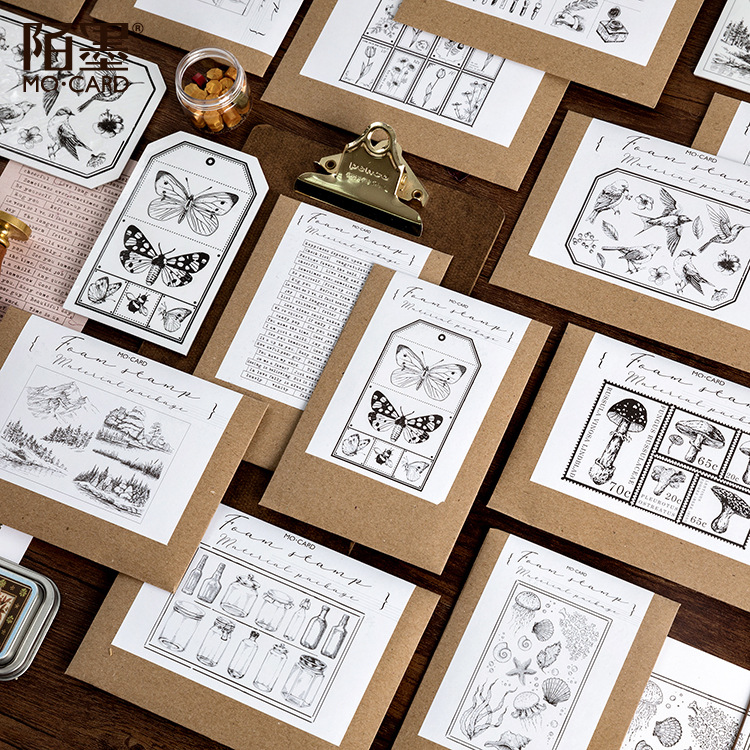 10 Set Vintage Painting Series Foam Seal Stamps DIY Stamps For Kids Diary Scrapbooking Photo Album Diary Decor