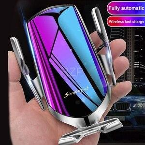 Image 2 - RZP 10W Qi Araba Kablosuz iphone şarj cihazı Xs Max X Samsung S10 S9 Hızlı Kablosuz Şarj Otomatik Akıllı Araba telefon tutucu