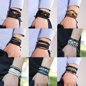 Eif Dock Variety of Bohemia Bracelets & Bangles Women and Men Multilayer Leather Bracelets Jewelry Vintage Sport Gifts Dropship