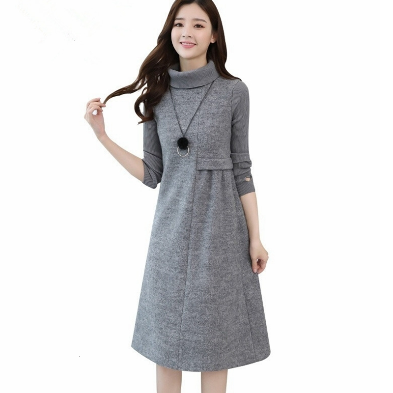 Women's Maternity Dress Knit Long Sleeve High-neck Thick Dress Autumn And Winter Pregnancy Large Size Casual Midi Dress