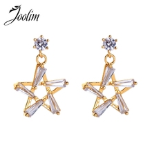 Joolim Glass Pave Star Dangle Earring Drop Earring High End Gold Color Brass Dangle Earring joolim double star dangle earring shell drop earring