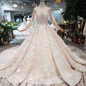 Image 3 - HTL256G свадебное платье ручной работы с цветами, роскошное бальное платье с круглым вырезом и длинными рукавами, с бусинами, со шлейфом, 2020
