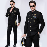 International Cruise Ship Protocol Banquet Costume Seafarer Captain Uniform Hat + Jacket + Pants Stand Collar Security Clothing