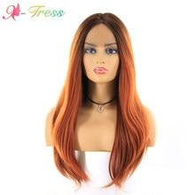 Ombre Orange croix dentelle avant perruques cheveux synthétiques pour les femmes noires longue vague naturelle cheveux perruque résistant à la chaleur cheveux X-TRESS 18 pouces