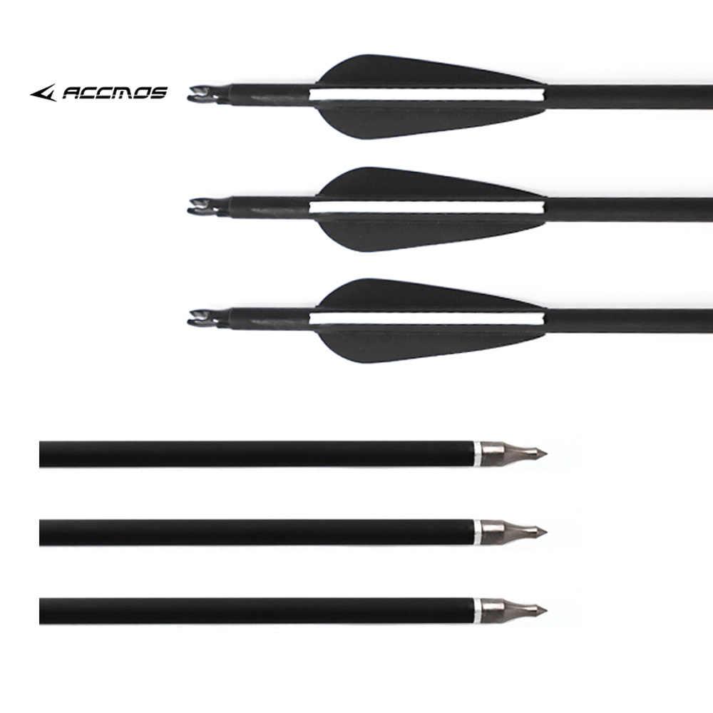 12 pièces de flèche de 80cm, 500mm en fibre de carbone, avec tête de flèche interchangeable anti-choc, pour la chasse
