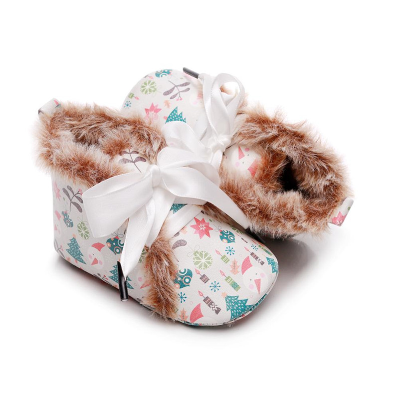Winter Baby Shoes PU Leather Leopard Lace Up Newborn Toddler Boots Snowman Fox Printed Infant Moccasins Soft Sole Firstwalkers