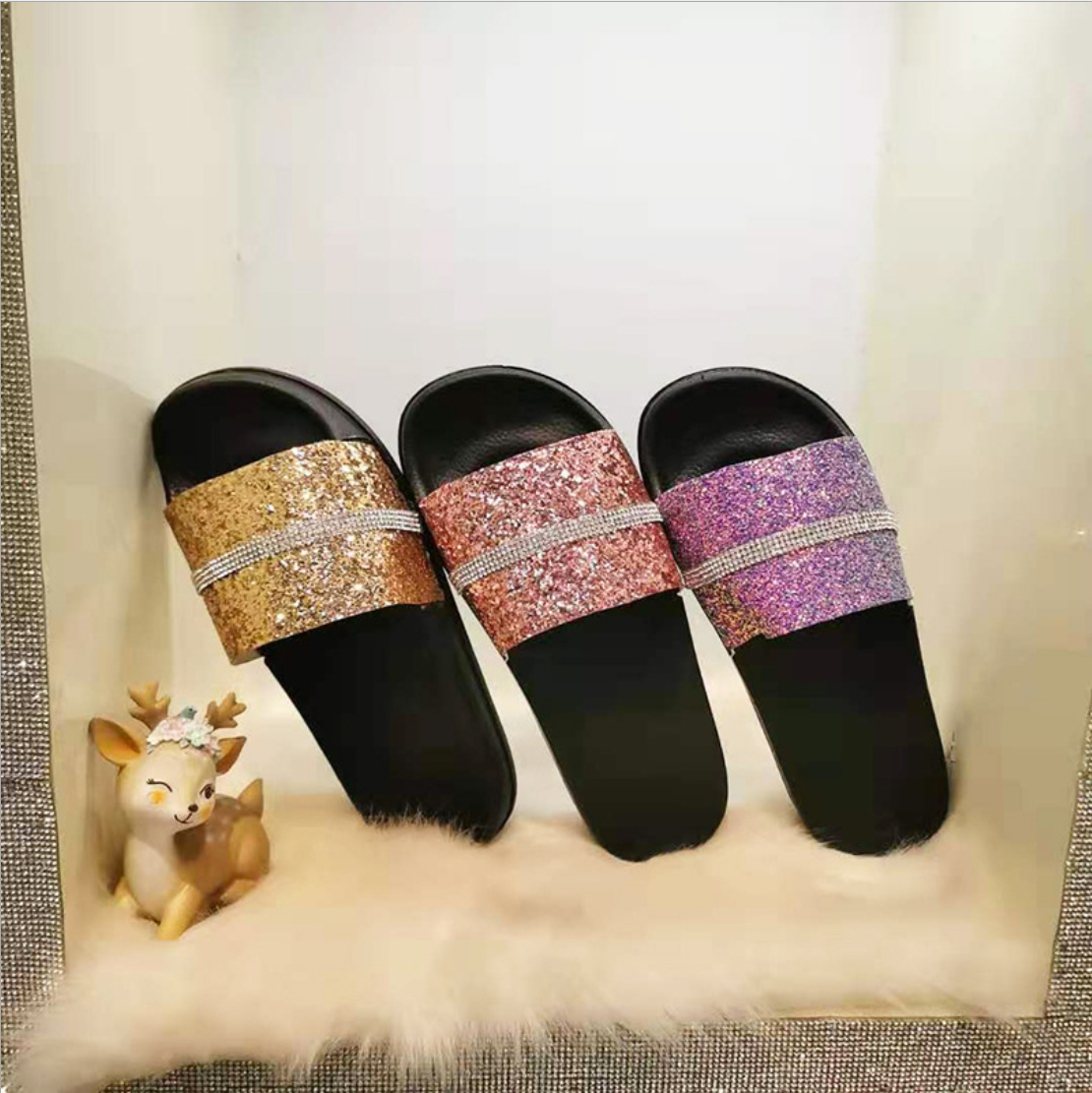 Sequin Woman Sexy Sandals Rhinestones Non-slip Bathroom Home Outdoor Slippers Beach Shoes Flip Flops Slide Cute Shoes Slippers