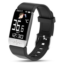 2020 T1S Smart Watch Temperature Measure men women Band ECG Heart Rate Blood Pressure Monitor Weather Forecast Drinking Remind