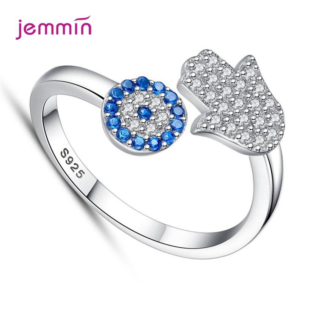 Hot Sale Genuine 925 Sterling Silver Open Finger Rings Blue CZ Stones Hand Pattern Luxury Finger Rings For Women Girl Engagement