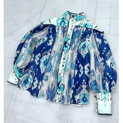 Европейская мода, небесно-голубые блузки, весна 2020, Новое поступление, роскошная Высококачественная Элегантная Шелковая льняная блузка, то...