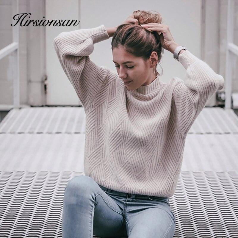 Hirsionsan Pull Femme 2019 Winter Autumn Oversized Knitted Cashmere Sweater Women Lantern Sleeve Diamond Basic Thicken Pullovers
