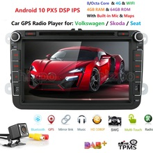Android 10 PX5 RAM 4GB Ô Tô Cho VW Golf Passat Jetta Tiguan Sharan Polo Sedan Octavia Siêu Ghế leon RDS BT SWC Bản Đồ