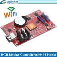 HD W60 75 assíncrona 640W * 2 * Porta de Verga HUB75 64H pixels RGB Sete cores display LED de controle de WI FI cartão