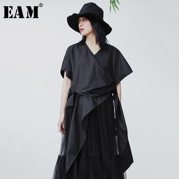 [EAM] Women Black Asymmetrical Split Joint Blouse New V-collar Short Sleeve Loose Shirt Fashion Tide Spring Summer 2020 1S905