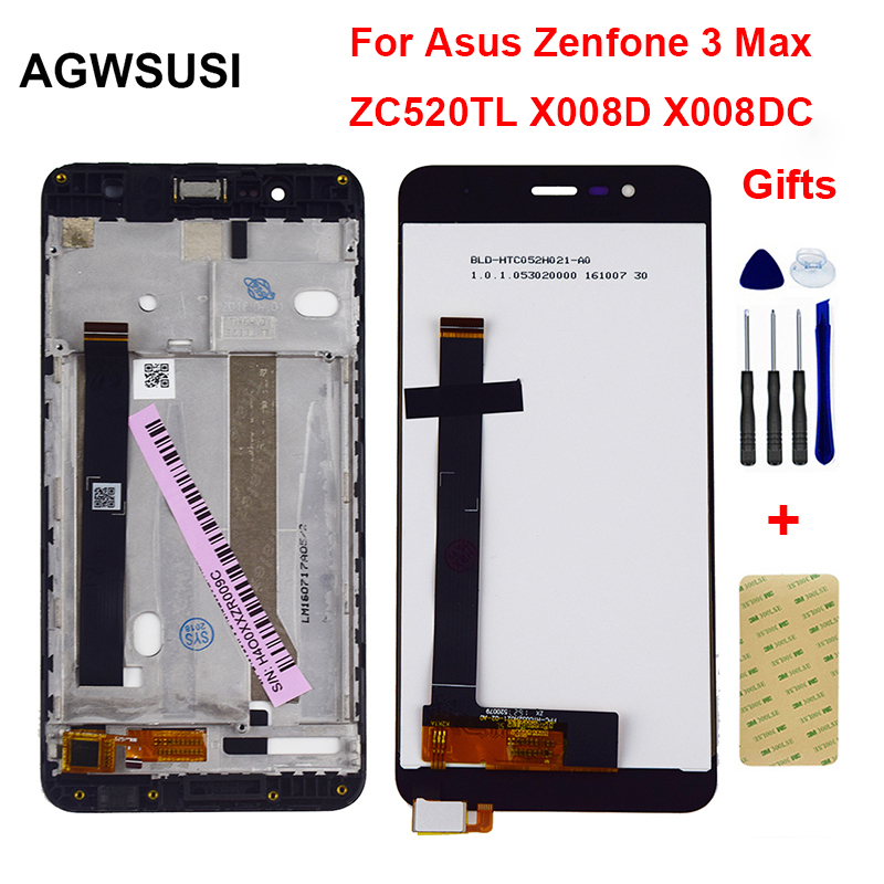 For <font><b>ASUS</b></font> <font><b>Zenfone</b></font> 3 Max ZC520TL <font><b>X008D</b></font> LCD Display Monitor Screen Panel + Touch Screen Digitizer Sensor Panel <font><b>Glass</b></font> Assembly Frame image