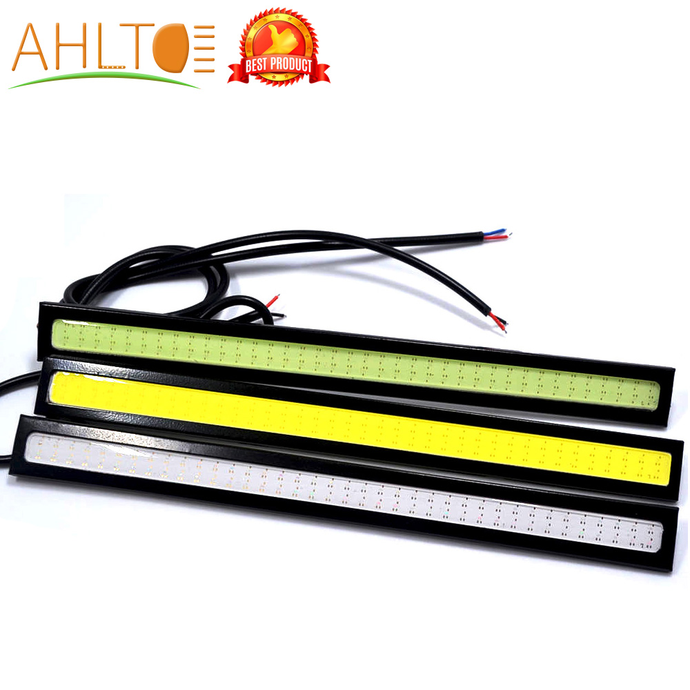 1Pcs Car Led DRL 17cm/14cm 2Row/1Row Led COB Driving Fog Lamp Double Daytime Running Lights Auto Waterproof Update Bright Bulb