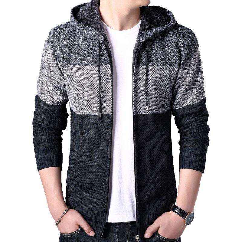 2020 Thick Cardigan Mens Sweater Zipper Striped Hooded Colorblocking Fashion Warm Slim Knitted Sweater Male Fleece Hoodies Coats 6
