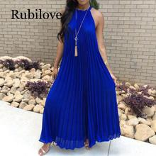 Rubilove White Maxi Dress Women 2019 Sexy Off Shoulder Sundress Party Elegant Summer Loose Fashion Solid Halter Blue Pleated Lon