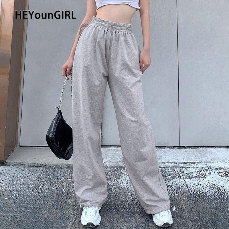 HEYounGIRL Casual Loose Baggy Sweatpants Women Gray Letter Print High Waist Pants Capris Drawstring Long Trousers Pocket Summer