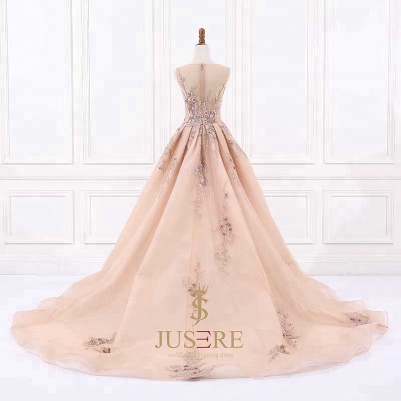 Image 3 - Luxury  Jusere Champagne A Line Appliqued Beaded evening dress sleeveless Prom Dresses Evening Party GownProm Dresses   -