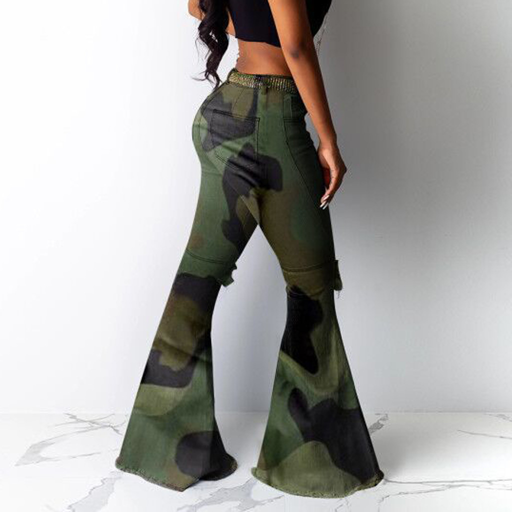 Camouflage Women Big Flare Jeans   Wide     Leg     Pants   Casual Long Trousers Military Fashion Lady Wild Sexy Stretchy Bellbottoms   Pant