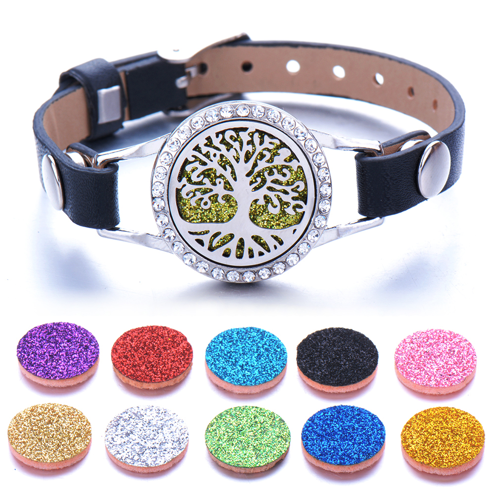 Tree of Life Full zircon Aromatherapy Jewelry Essential Oil Diffuser Locket Bracelet Leather Bracelets for Women Men
