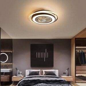 Mdwell modernas luzes de teto led com ventilador para sala estar quarto estudo lâmpada do teto dia550mm verde ou branco + cor preta