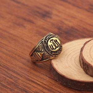 Image 3 - Antique or couleur anneaux musulmans hommes Islam arabe Totem Allah anneaux bijoux musulmans haute qualité anneau bijoux accessoires pour hommes