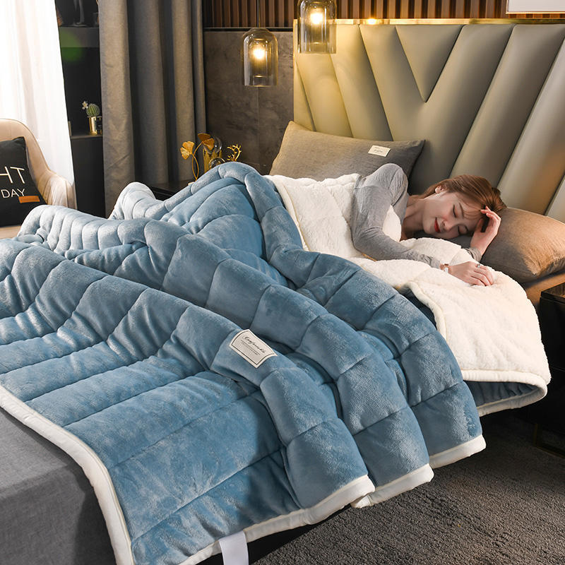 Solid Color Quilted Fleece Blankets And Throws Adult Thick Warm Winter Blanket Super Soft Duvet Comforter Luxury Home Bedding