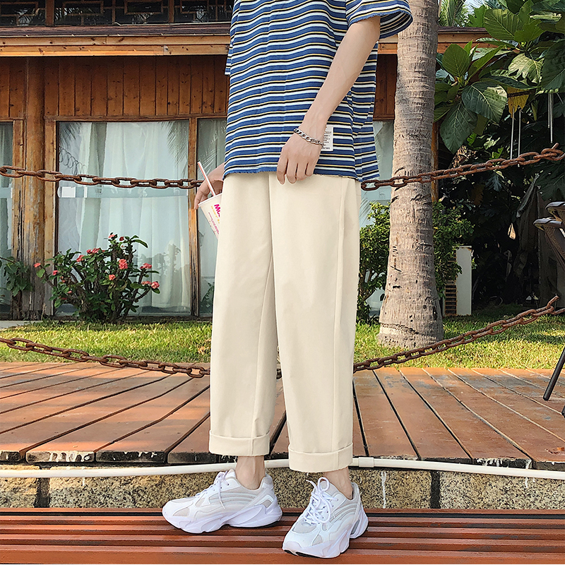 Solid Color Straight Pants Men's Fashion Summer Thin Drawstring Casual Pants Men Streetwear Wild Loose Trousers Mens M-2XL