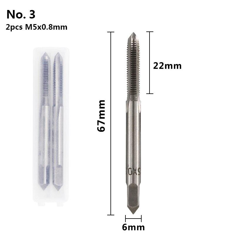 XCAN 2 шт. M3-M16 HSS резьбовой кран сверлильный набор правый ручной кран с винтовой резьбой ручные нарезные инструменты заглушка Метчик сверление металла - Цвет: 2pcs M5x0.8mm
