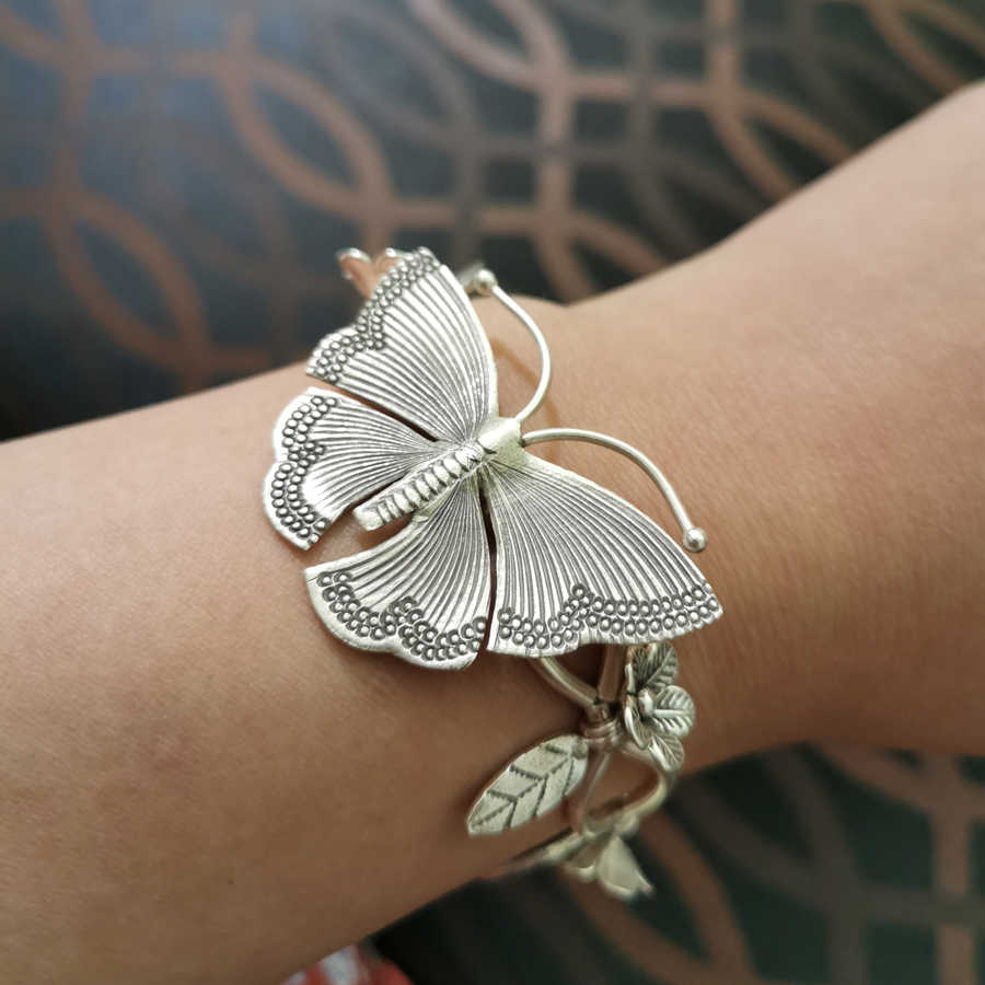 925 prata esterlina borboleta tribal artesanal elefante charme pulseira presente jóias 18cm a3266