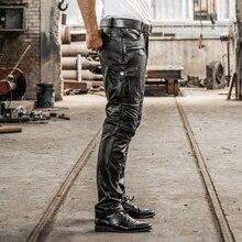 Брендовые дизайнерские штаны из натуральной кожи мужские профессиональные мотоциклетные байкерские длинные брюки в винтажном стиле большого размера, мягкий Cowskin черные брюки