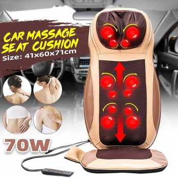 Electric Heating Vibrating Back Massager Chair In Cussion Lumbar Neck Mattress Pain Relief Kneading Shiatsu or Rolling Massage