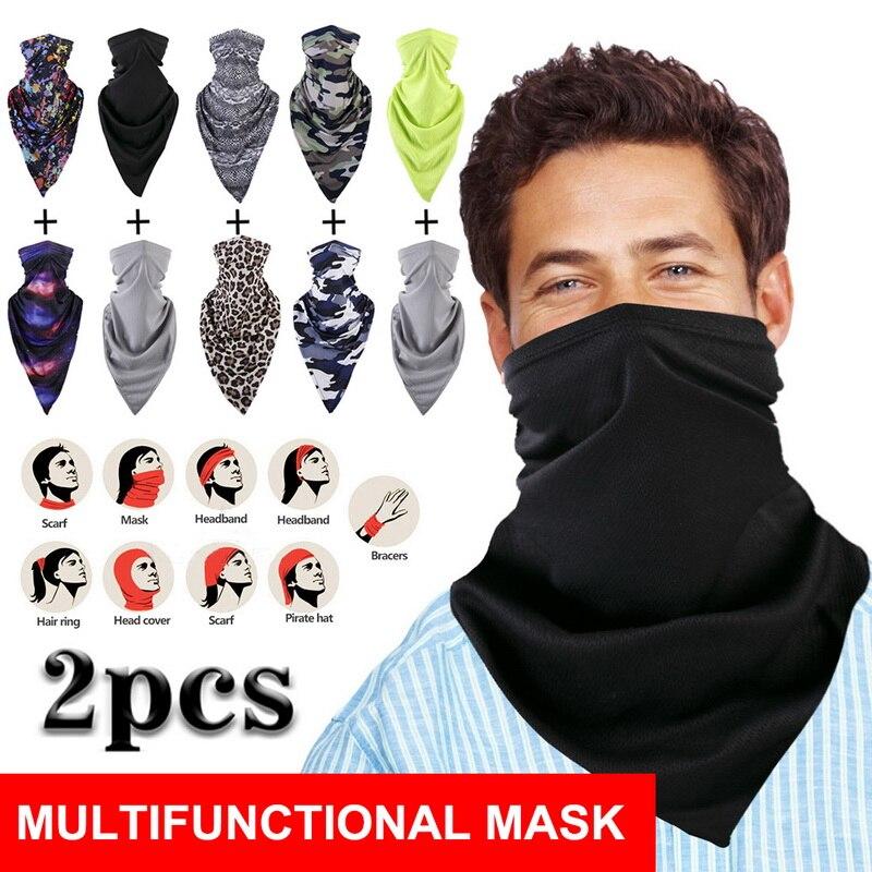Clothing - 2pcs Scarf Protection UV Sun Breathable Face Scarves Headwear Gaiter Tube Balaclava Headscarf