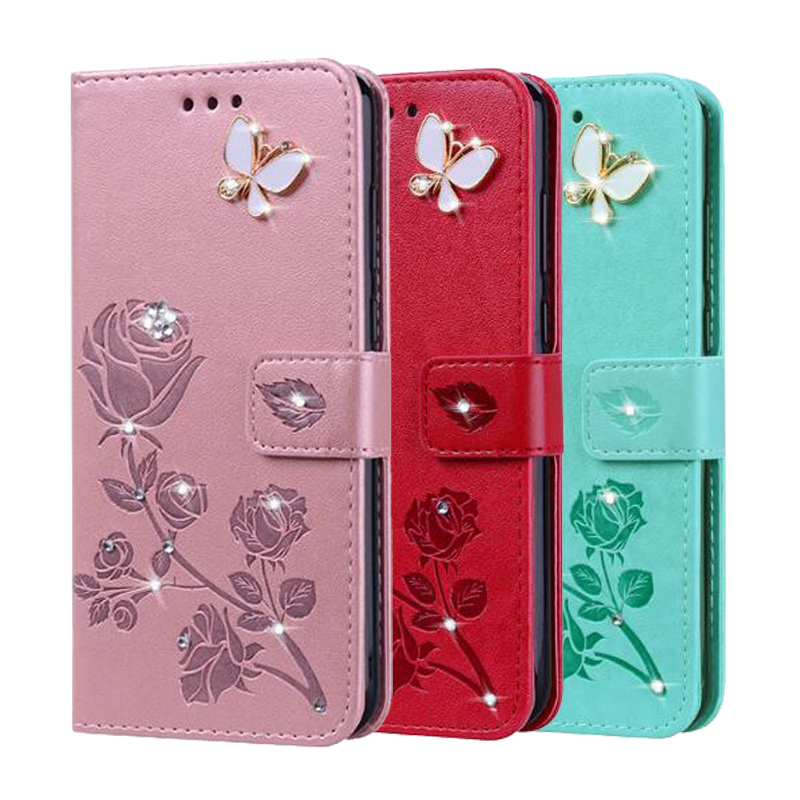 Bling Book Style Leather Flip Butterfly Case Cover for <font><b>Samsung</b></font> <font><b>Galaxy</b></font> Ace 3 <font><b>Ace3</b></font> S7270 GT-<font><b>S7272</b></font> S7275 Phone Bags+Strap image
