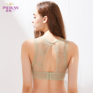 Image 3 - PAERLAN Floral Lace Push Up Bra Beautiful Back Sexy Wire Free Half 1/2 Cup Women Underwear Back Closure Three Hook and eye