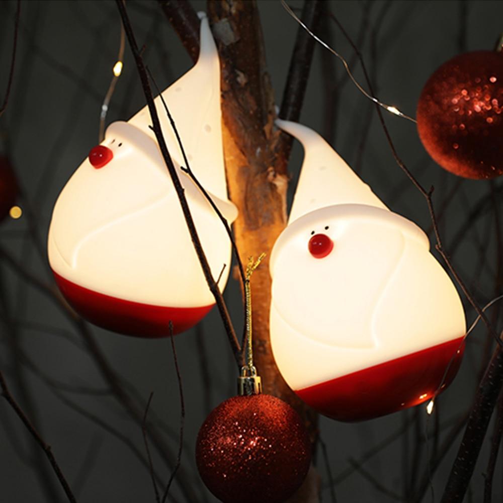 Babbo natale Ligh Albero Di Natale Accarezzò Silicone HA CONDOTTO LA Luce di Notte 4 di Colore del Sensore di Tocco di Controllo Regalo per I Bambini Del Bambino bambini O16