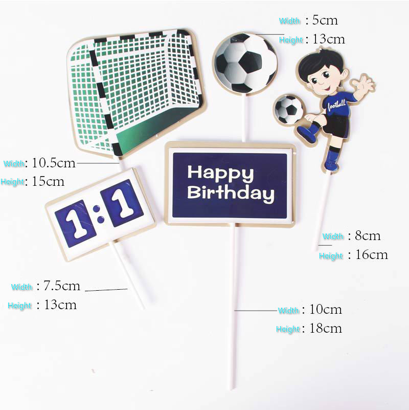 5pcs/set Cake Topper Foottball Soccer Sports DIY Cake Cupcake Toppers Boys Men Happy Birthday Party Wedding Dessert Decor Flags-5