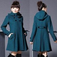 Foreign trade wholesale women's woolen coat women's long section woolen coat hooded double breasted cloak windbreaker women
